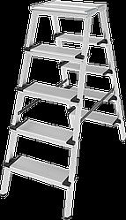 Стремянка двухсторонняя алюминиевая, широкая ступень 130 мм NV100, 4 ступени