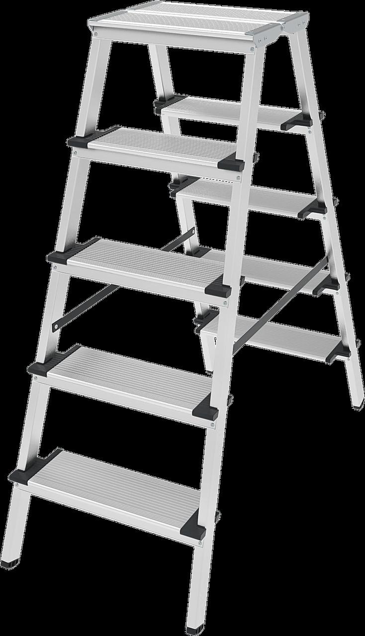 Стремянка двухсторонняя алюминиевая, широкая ступень 130 мм NV100, 5 ступеней