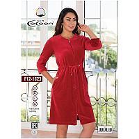 Женский халат на замке. Красный. Велюр. CoCoon. F12-1623