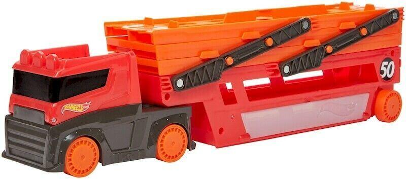 Автовоз Хот Вилс на 50 машинок Hot Wheels Мега-трейлер красный GHR48 - фото 2