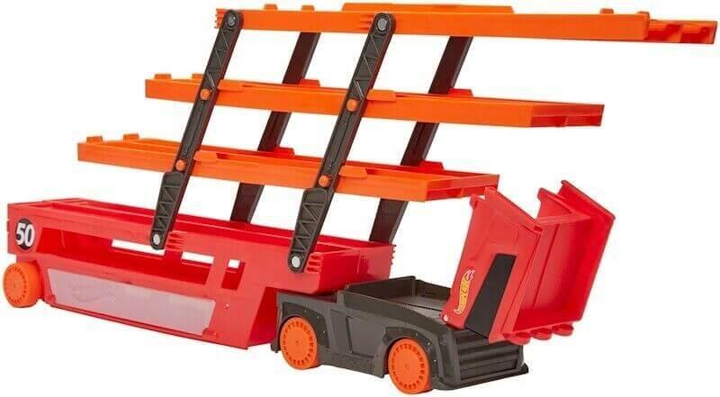 Автовоз Хот Вилс на 50 машинок Hot Wheels Мега-трейлер красный GHR48 - фото 3