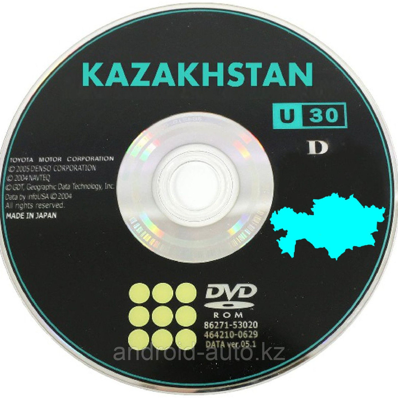 GEN-4 DVD NAVIGATION MAP of KAZAKHSTAN - (DENSO) TOYOTA PRIUS NHW20 2003-2009