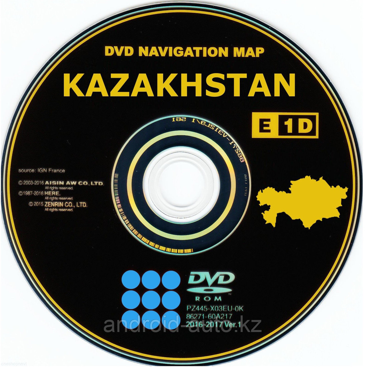 GEN-3 DVD NAVIGATION MAP of KAZAKHSTAN (AISIN) TOYOTA RAV4 2002-2008