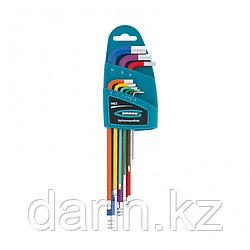 Набор ключей имбусовых HEX, 1.5-10 мм, S2, 9 шт, магнит, экстра-длинные с шаром, хром/краска Gross