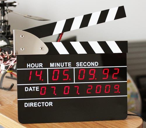 (Сувенир-Часы с будильником)  Кино-хлопушка Электронная Черная