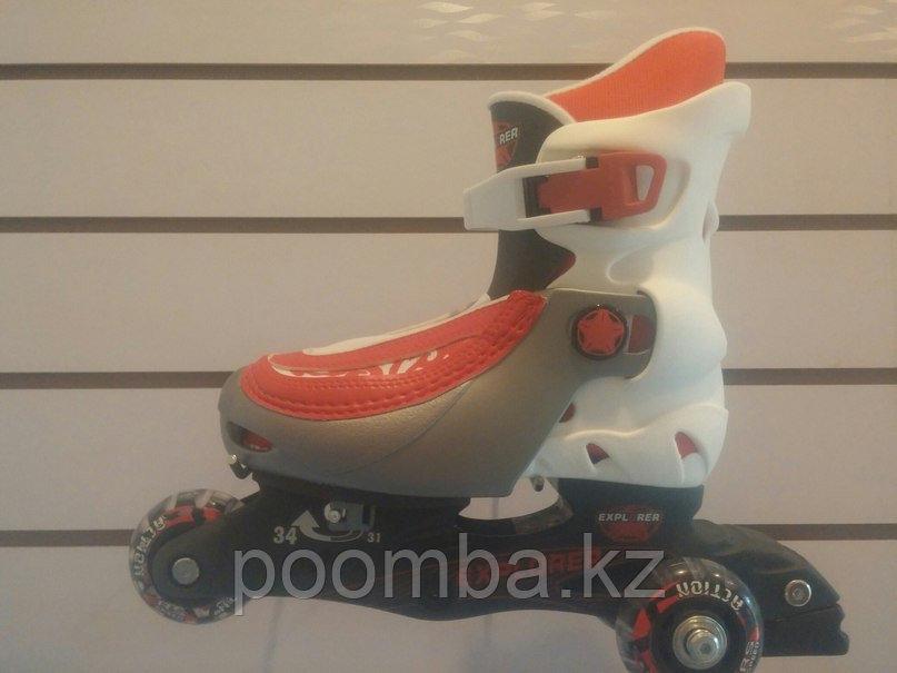 3х колесные детские роликовые коньки / Ролики раздвижные цвет красный