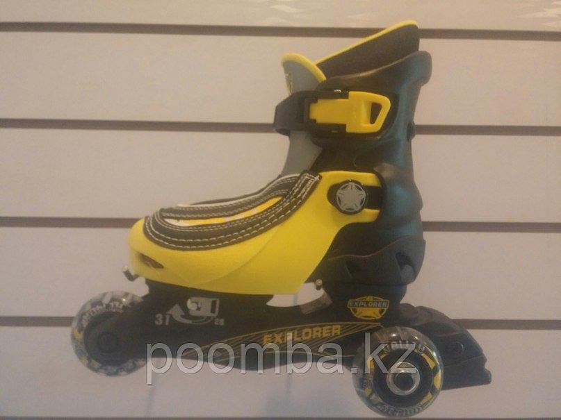 3х колесные детские роликовые коньки / Ролики раздвижные цвет желтый