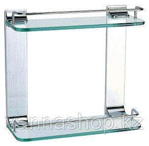 Полка стеклянная квадрат двойка