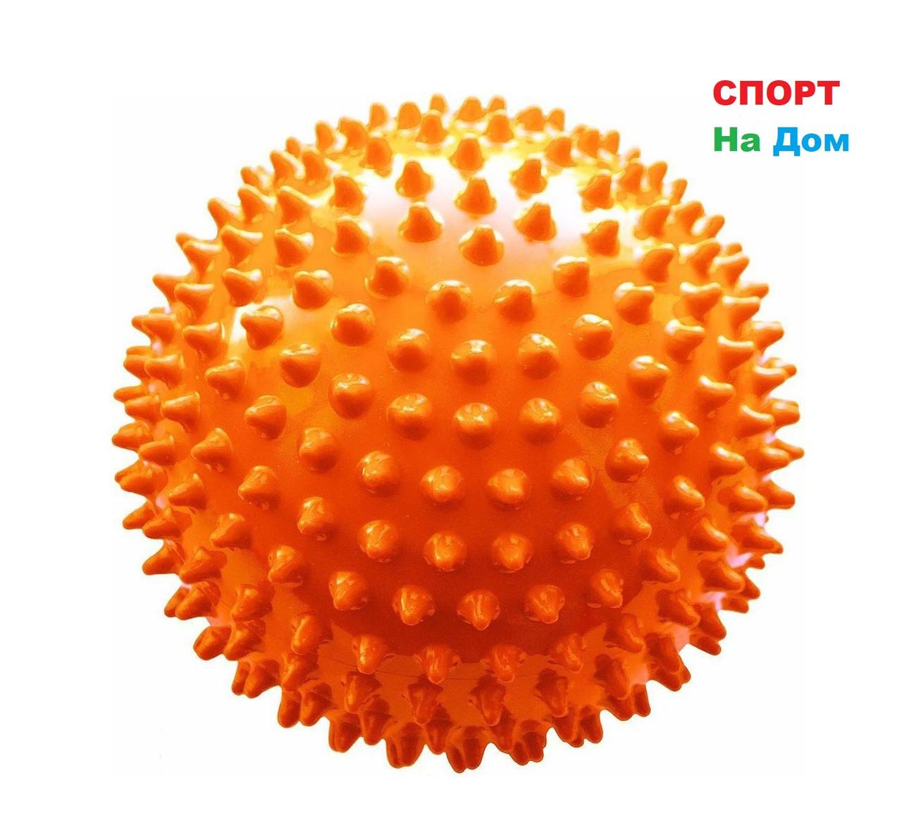 Массажер ежик, массажный мячик для фитнеса 9 см (цвет оранжевый)