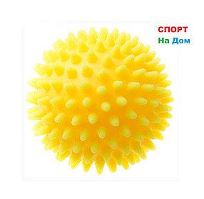 Массажер ежик, массажный мячик для фитнеса 9 см (цвет желтый)