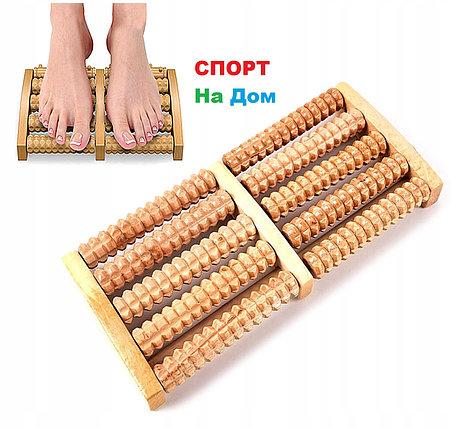 Массажёр деревянный для ног Барабаны 4 ряда, фото 2
