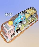 Инерционная машина,  пластмассовая, автовоз с погрузчиком и камазом.