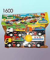Инерционные машины,  грузовые машинки в наборе, 4в1, пластмассовые.