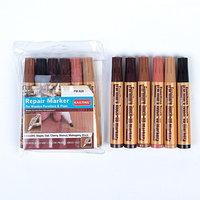 Набор перманентных маркеров для мебели, 6 цветов коричневые оттенки