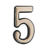 Цифра дверная '5', пластиковая, цвет золото (комплект из 150 шт.)
