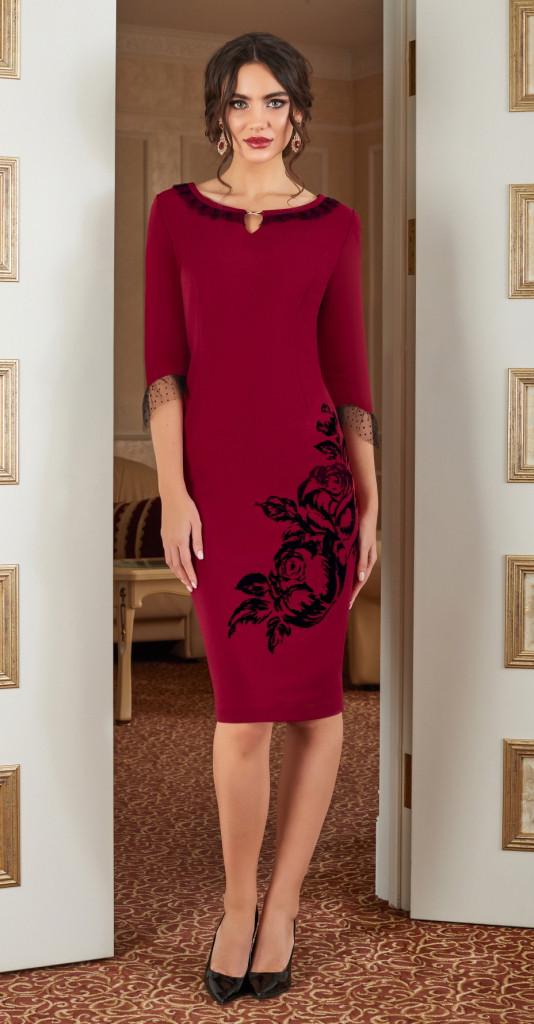 Платье Lissana-3875, бордо, 52