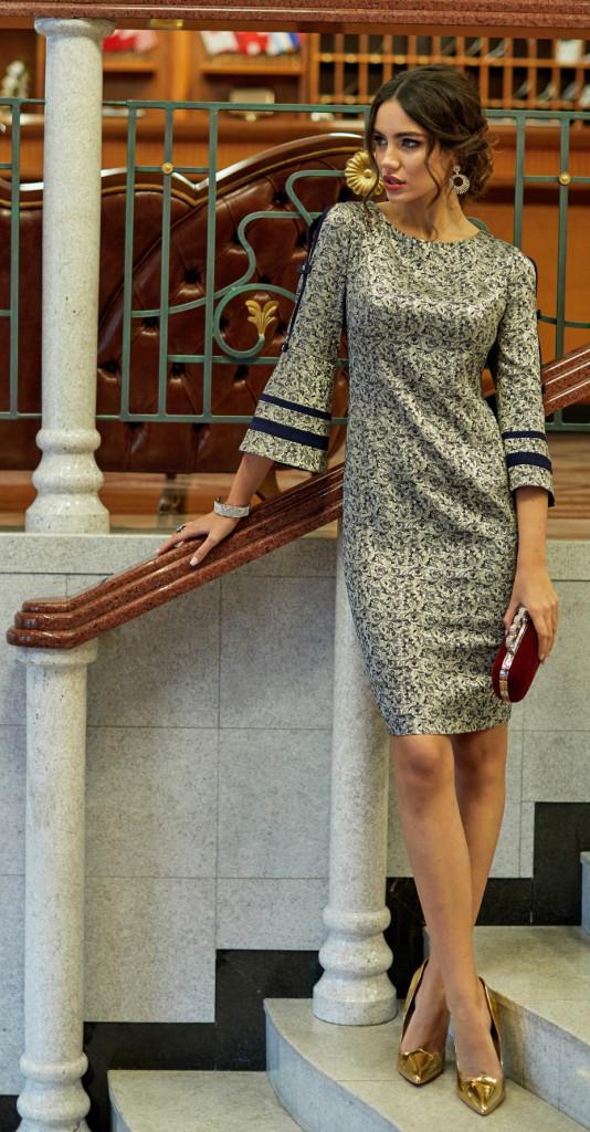 Платье Lissana-3936, золото с синим, 48