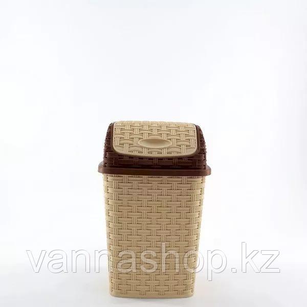 Мусорное ведро плетеный бежевый цвет пластик 10 литров