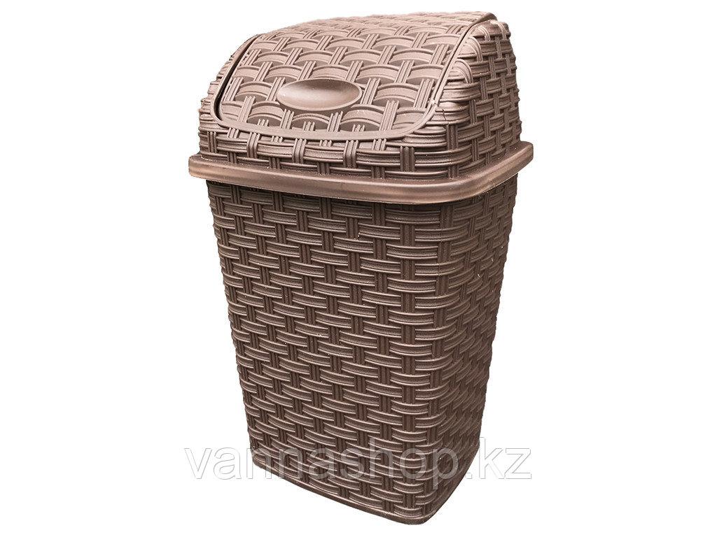 Мусорное ведро плетеный коричневый цвет пластик 10 литров
