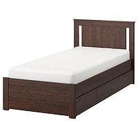 Кровать каркас с 2 ящиками СОНГЕСАНД коричневый Лурой 90х200 IKEA, ИКЕА, фото 1