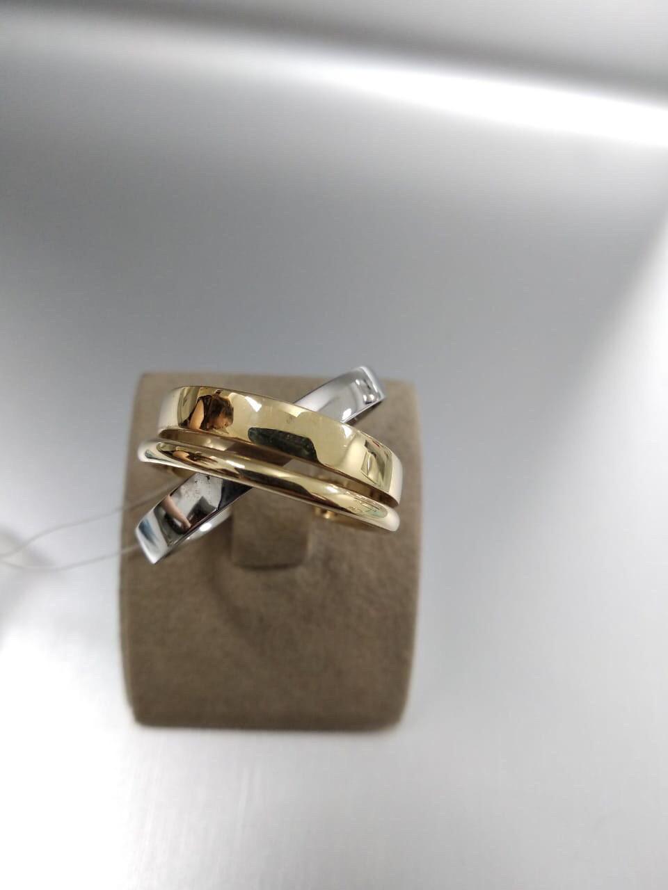 Кольцо / жёлтое, белое золото - 17,5 размер
