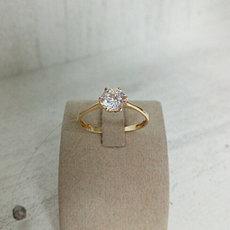Кольцо с цирконом / жёлтое золото - 18 размер