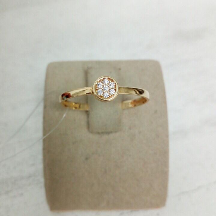 Кольцо с цирконом / жёлтое золото - 17,5 размер