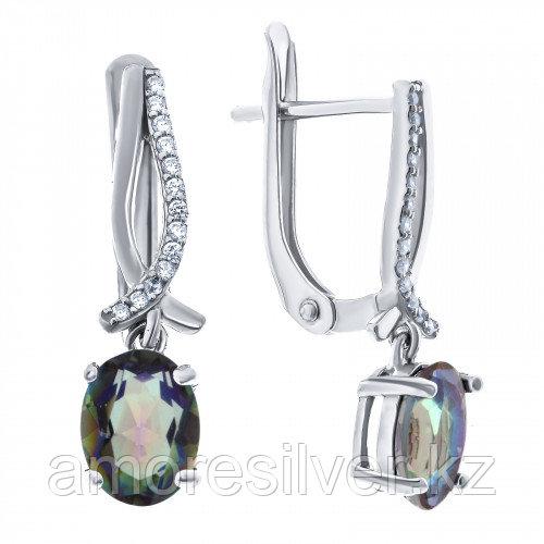 Серебряные серьги с мистик кварцем    Teosa E-DRGR00750-MQ