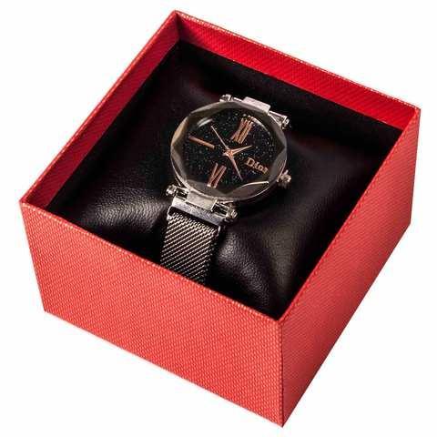 Часы женские водонепроницаемые Dior на магнитной застёжке [качественная реплика] (Серебро с блестками)