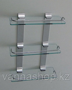Полка стеклянная для ванный комнат трех ярусная. Прямоугольная
