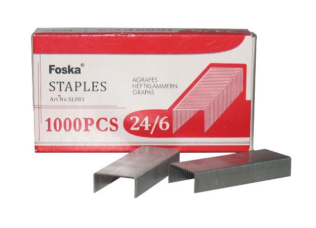 Скобы для степлера №24/6, 1-30л, 1000шт, оцинкованные Foska