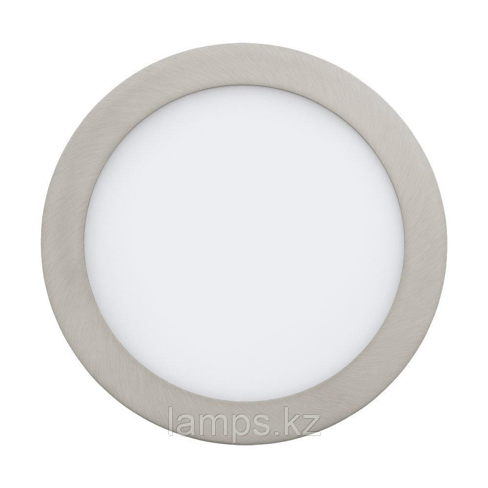 Встраиваемый светильник FUEVA 1, металл, пластик,LED-EINBAUSP.Ø225 NICKEL-M.4000K
