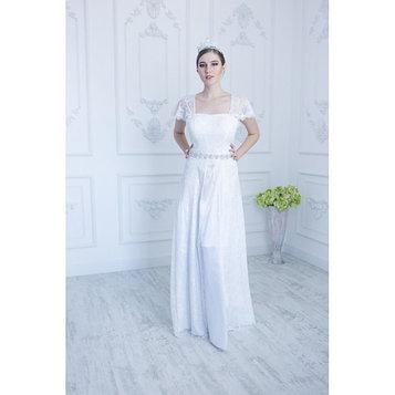 Свадебное платье , молочное, кружевной лиф, пояс стразы 46-48