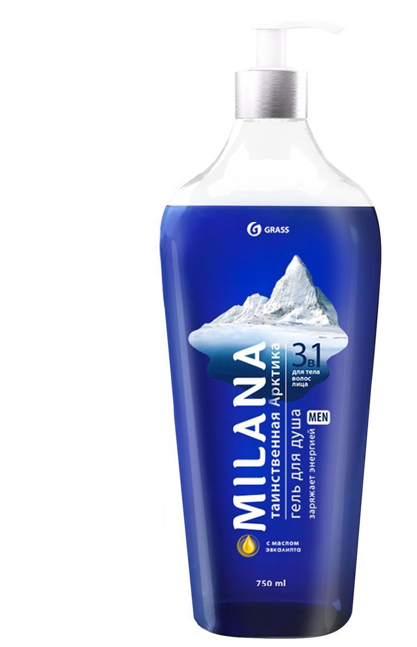Milana MEN гель для душа Таинственная арктика  с маслом эвкалипта (флакон 750 мл)