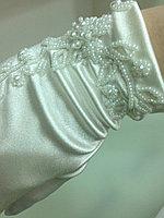 Атласные свадебные перчатки, белые вечерние перчатки высокого качества