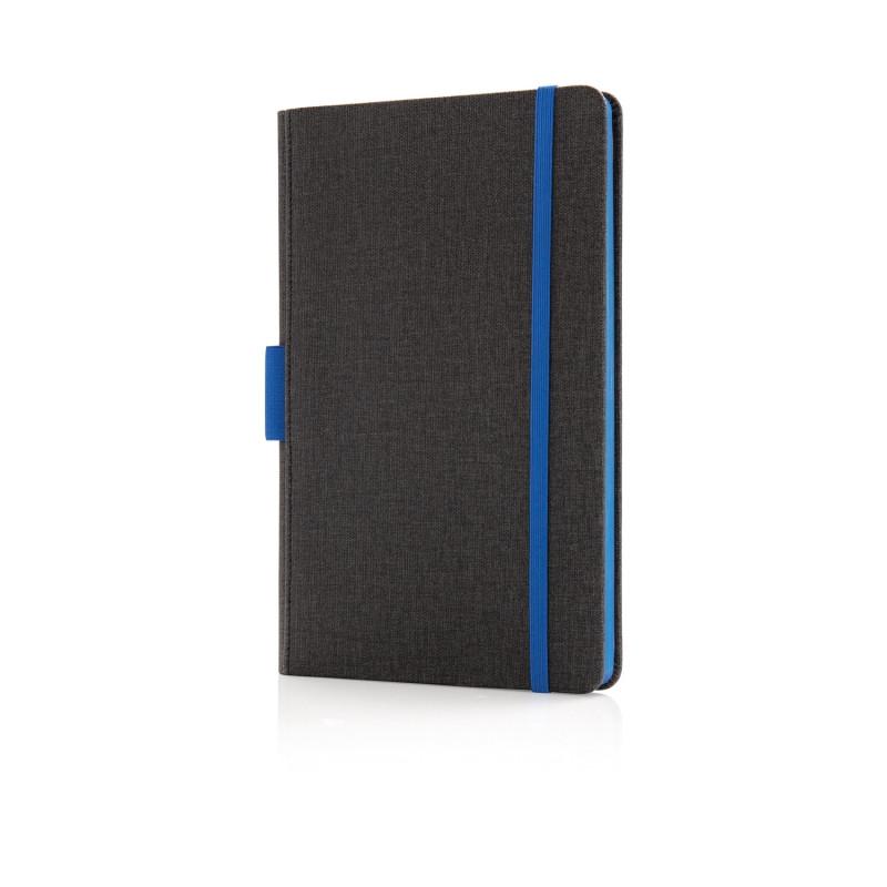 Блокнот Deluxe с держателем для ручки А5, синий, Длина 20,8 см., ширина 13,5 см., высота 1,5 см., P772.855
