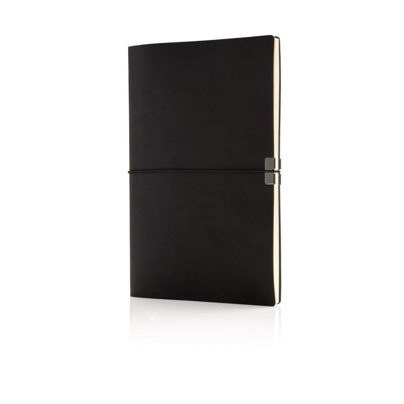 Блокнот Deluxe в мягкой обложке Swiss Peak A5, черный, Длина 20,7 см., ширина 13,5 см., высота 1,5 см.,
