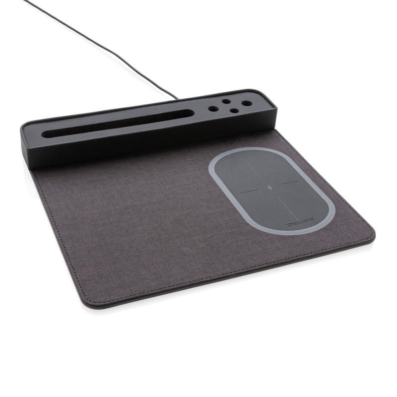 Коврик для мышки с беспроводным зарядным устройством, 5W и USB, черный, Длина 27 см., ширина 25 см., высота 3