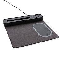 Коврик для мышки с беспроводным зарядным устройством, 5W и USB, черный, Длина 27 см., ширина 25 см., высота 3, фото 1