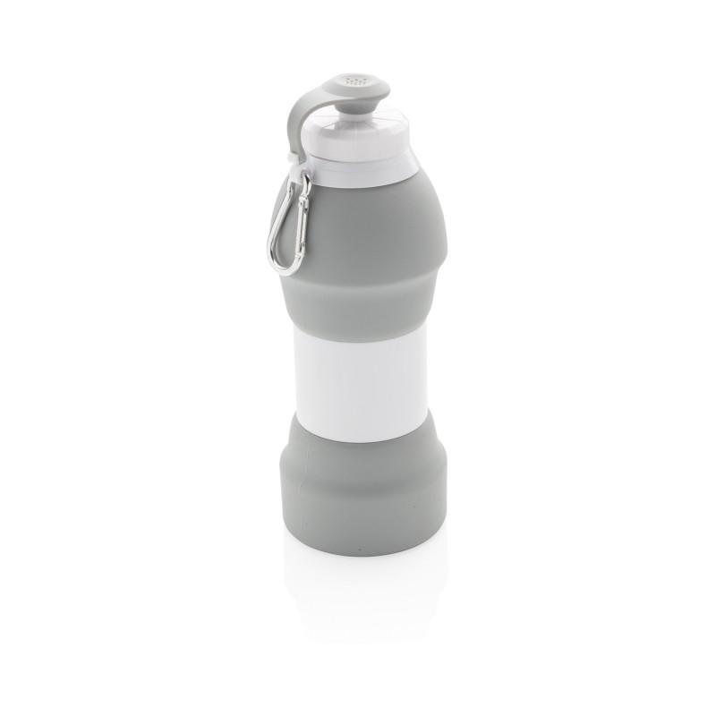 Складная силиконовая спортивная бутылка, 580 мл, серый, , высота 21,8 см., диаметр 7,7 см., P436.352