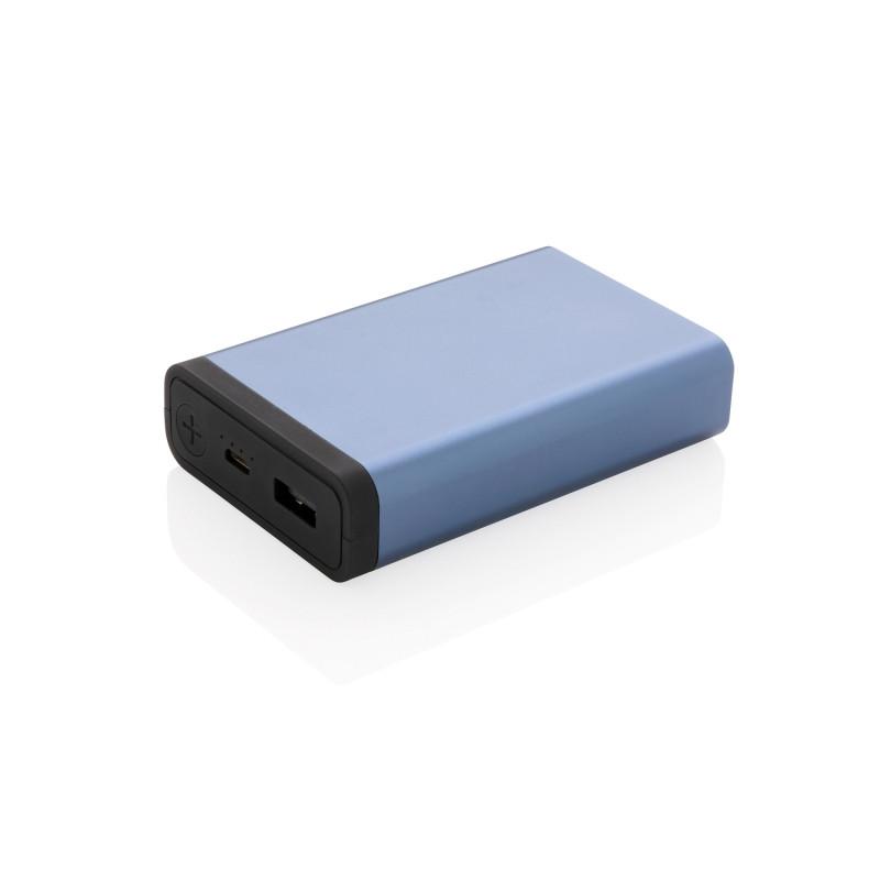 Карманный внешний аккумулятор в алюминиевом корпусе на 10 000 мАч, синий, Длина 9 см., ширина 5,9 см., высота