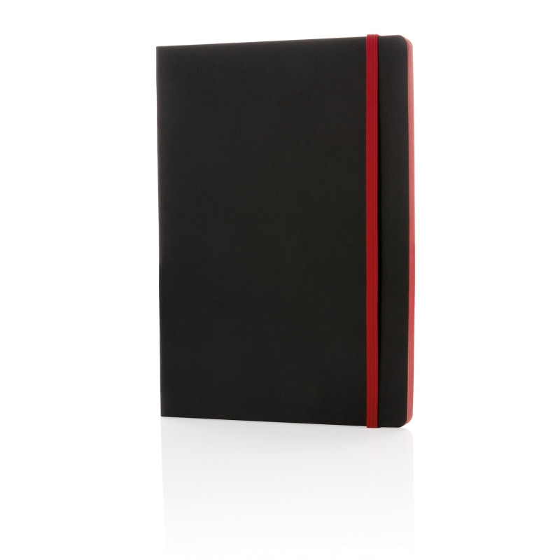 Блокнот Deluxe с цветным срезом в мягкой обложке, A5, красный, Длина 14,8 см., ширина 21 см., высота 1,1 см.,