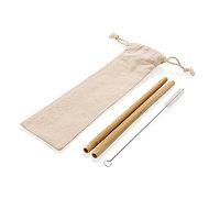 Многоразовые эко-трубочки для напитков Bamboo, набор 2 шт., белый, Длина 7 см., ширина 1 см., высота 21 см.,, фото 1