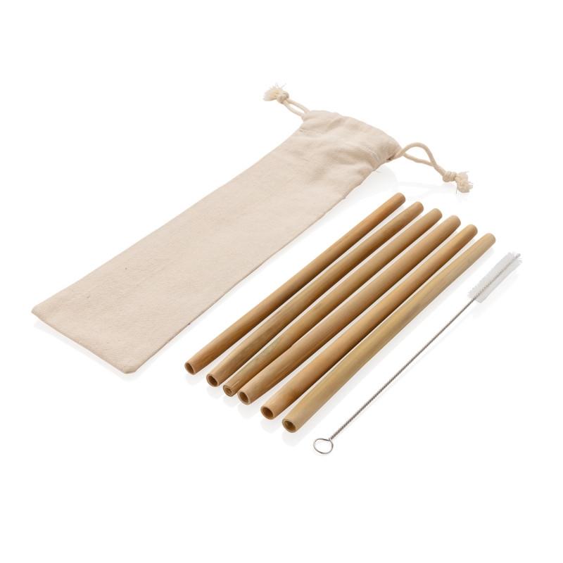 Многоразовые эко-трубочки для напитков Bamboo, набор 6 шт., белый, Длина 6,5 см., ширина 1 см., высота 24 см.,