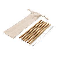 Многоразовые эко-трубочки для напитков Bamboo, набор 6 шт., белый, Длина 6,5 см., ширина 1 см., высота 24 см.,, фото 1