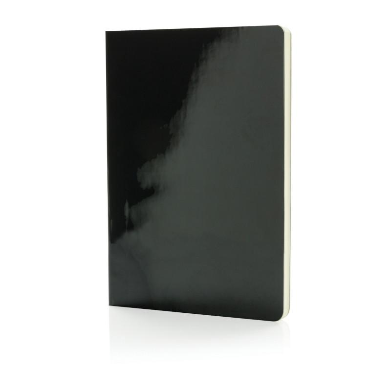 Металлизированный блокнот Deluxe A5, черный, черный, Длина 21 см., ширина 15 см., высота 1 см., P773.051