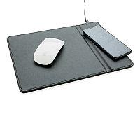 Коврик для мыши с беспроводным зарядным устройством, 5W, черный, Длина 30 см., ширина 22 см., высота 0,7 см.,