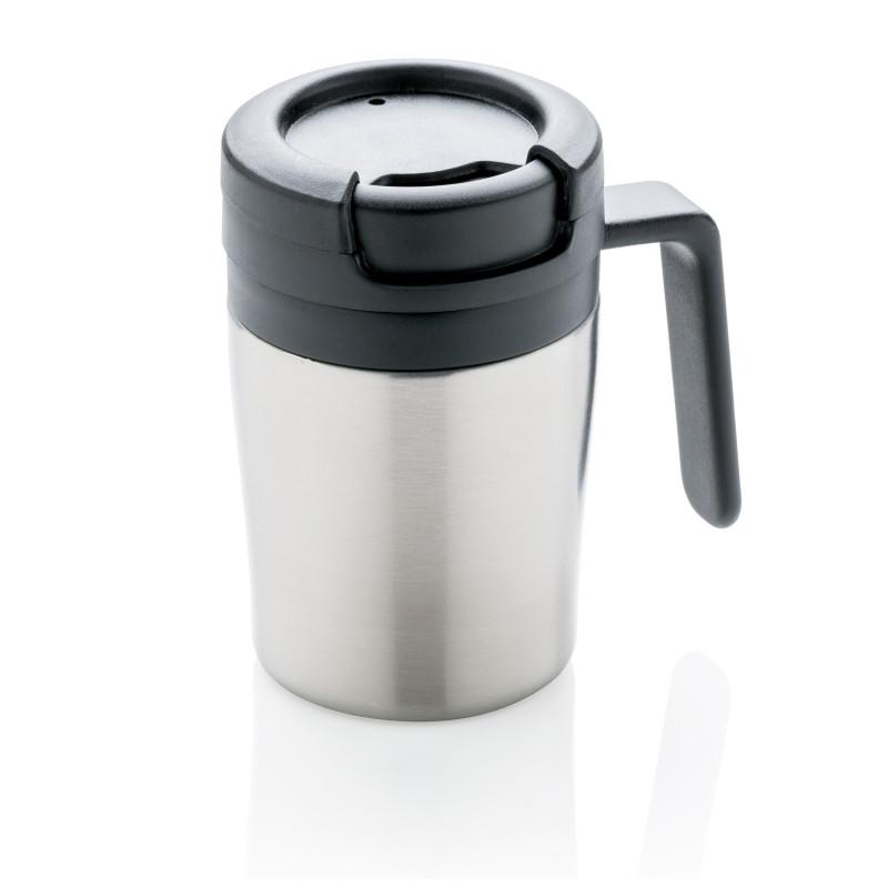 Термокружка с ручкой Coffee-to-go, серебряный, серебряный, , высота 10 см., диаметр 7 см., P432.942