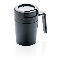 Термокружка с ручкой Coffee-to-go, черный, черный, , высота 10 см., диаметр 7 см., P432.941, фото 1