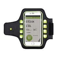 Спортивный чехол для телефона на руку с LED подсветкой, черный; салатовый, Длина 7,5 см., ширина 1 см., высота